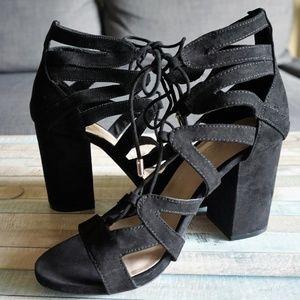 Black Vegan Suede High Heel Strappy Sandals 7.5
